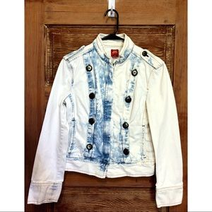 Miss Sixty Acid Wash Denim Moto Jacket Medium